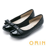ORIN 典雅輕柔OL 縫線格紋牛皮娃娃鞋-黑色