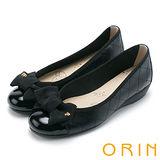 ORIN 典雅輕柔OL 織帶蝴蝶結牛皮格紋娃娃鞋-黑色