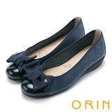 ORIN 典雅輕柔OL 織帶蝴蝶結牛皮格紋娃娃鞋-藍色