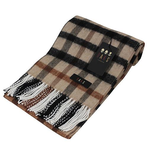 DAKS經典大格紋羊毛圍巾(駝)