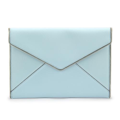 Rebecca Minkoff Leo Clutch 素面皮革壓扣式信封拉鍊飾邊手拿包-粉藍色