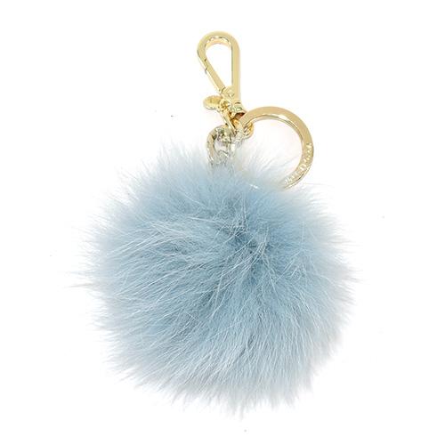 MICHAEL KORS 毛球鑰匙圈吊飾(粉藍x金)