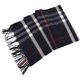 BURBERRY 經典格紋100%喀什米爾羊毛圍巾(深藍)