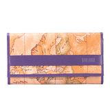 Alviero Martini 義大利地圖包 扣式10卡長夾-地圖黃/紫