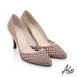 A.S.O 璀璨注目 真皮鏤空貼鑽高跟鞋(卡其)