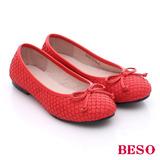 BESO 簡約知性 真皮羽狀蝴蝶結娃娃平底鞋(紅)