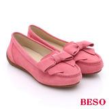 BESO 簡約知性 絨面牛皮蝴蝶結莫卡辛休閒鞋(粉紅)