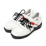 (男) ZOBR 真皮綁帶氣墊減壓休閒鞋 白黑 鞋全家福