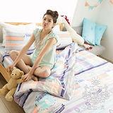 AGAPE亞加•貝【希臘文化】☆100%柔絲絨☆標準雙人(5*6.2尺)四件式被套床包組