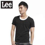 Lee 短袖T恤 假兩件圓領-男款(黑)