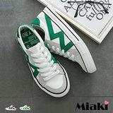 【Miaki】休閒鞋韓帆布撞色拼接綁帶平底包鞋 (綠色 / 黑色)