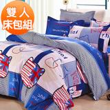 J-bedtime【凱蒂寶貝-藍】柔絲絨雙人三件式床包+枕套組