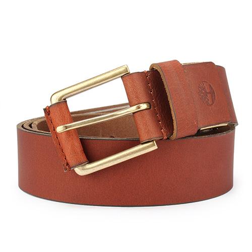 Timberland 霧面金屬釦頭穿式皮帶禮盒-紅棕色