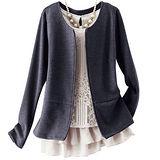 日本Portcros 現貨-二件式蕾絲雪紡上衣夾克外套組(炭灰色系L)