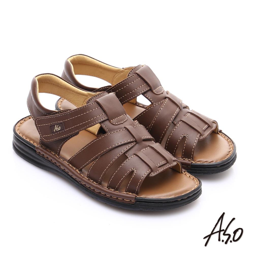 【A.S.O】手縫氣墊 3E寬楦真皮彈力涼鞋(咖啡)