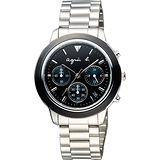 agnes b. 魔幻魅眼時尚計時腕錶-黑x綠眼x銀/40mm VD53-KQ00A(BT3014X1)