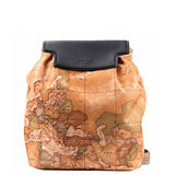 Alviero Martini 義大利地圖包 尼龍簡約雙肩手提後背包-地圖黃/黑