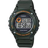 CASIO 競速電小子休閒數字錶(墨綠) W-216H-3B