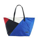 agnes b.幾何圖形手提/肩背托特包(藍)