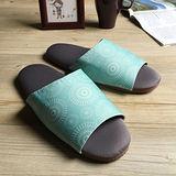 台灣製造-療癒系-森活布質室內拖鞋-花火-冰湖藍