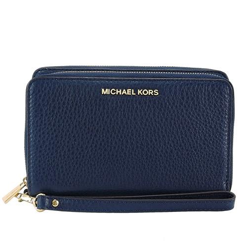 Michael Kors Adele 鵝卵石皮革雙拉鍊零錢/手機包(午夜藍)