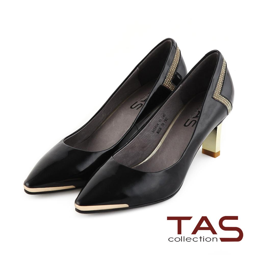 TAS 後跟特色水鑽復古金屬方型跟鞋-精品黑