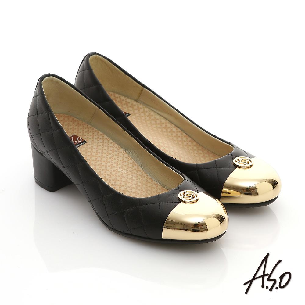 【A.S.O】經典時刻 牛皮菱形車格經典奢華粗跟鞋(黑)