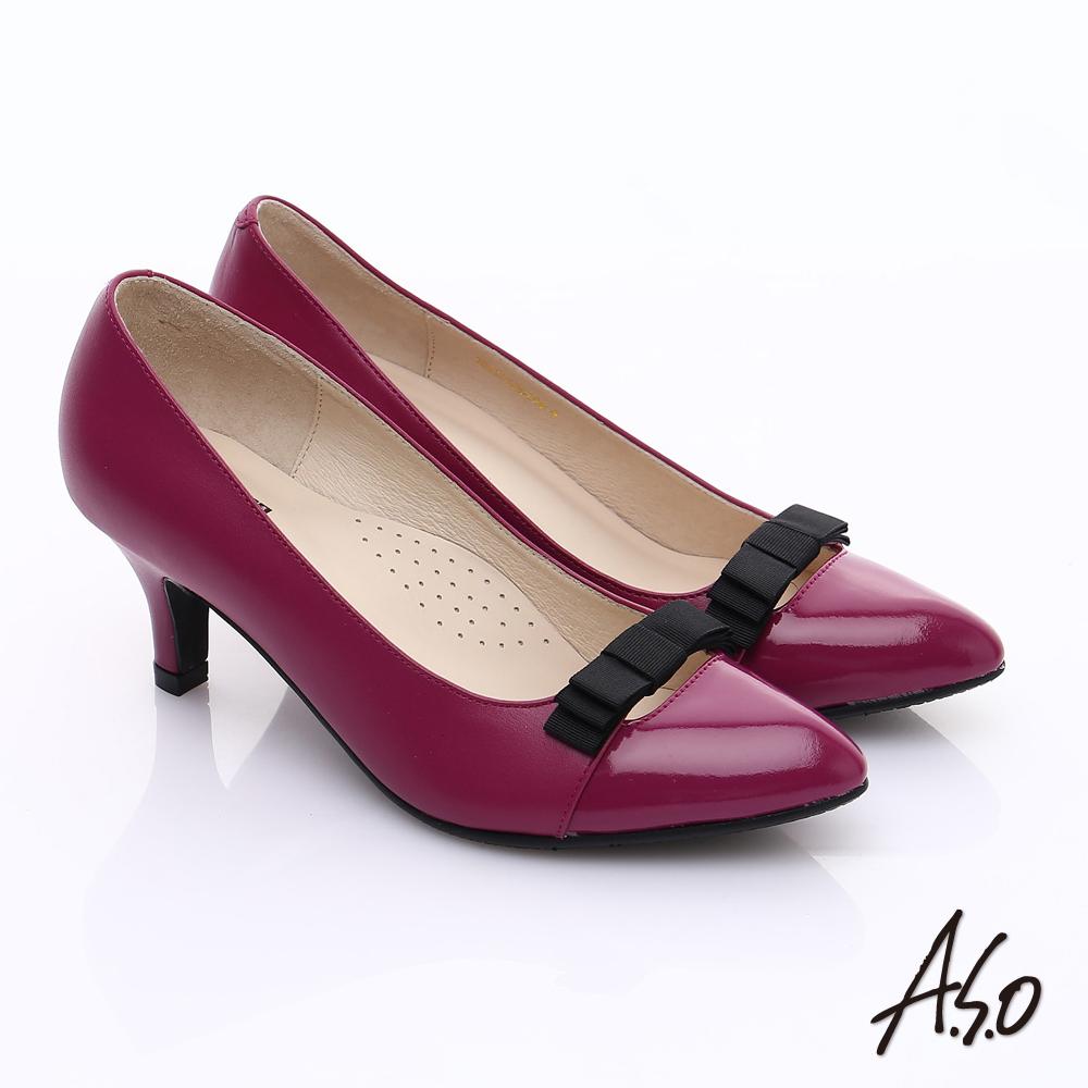 【A.S.O】輕透美型 鏡面拼接牛皮蝴蝶飾尖頭跟鞋(桃粉紅)