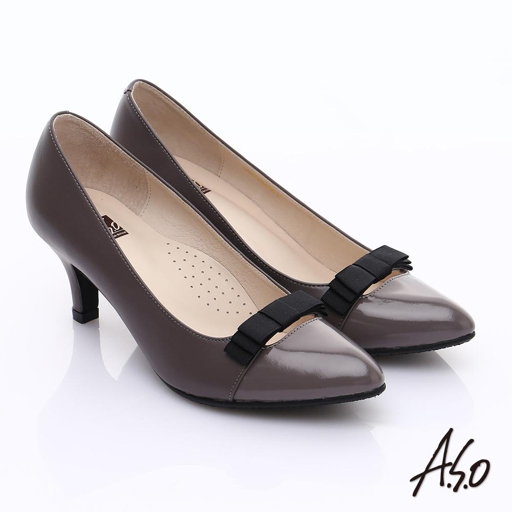 【A.S.O】輕透美型 鏡面拼接牛皮蝴蝶飾尖頭跟鞋(灰)