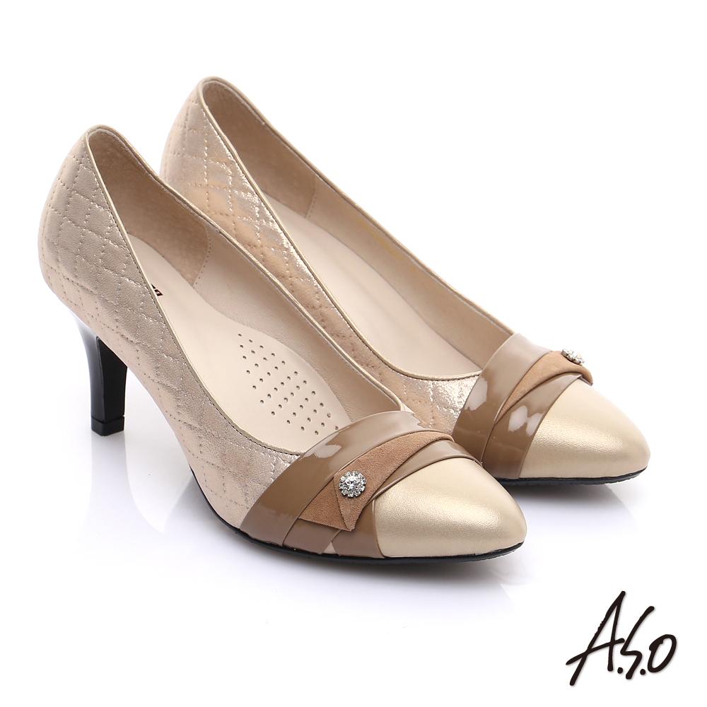 【A.S.O】甜蜜樂章 全真皮菱格壓紋鑽飾高跟鞋(卡其)