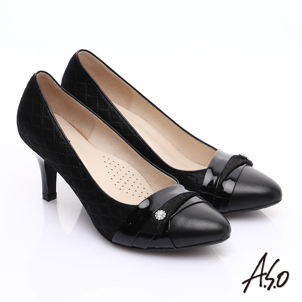【A.S.O】甜蜜樂章 全真皮菱格壓紋鑽飾高跟鞋(黑)