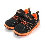 (中大童) FUH KEH 黏帶輕量跑鞋 黑橘 鞋全家福