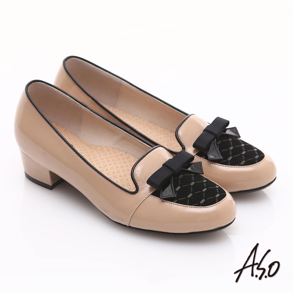 【A.S.O】3E舒活寬楦 真皮拼接菱格紋蝴蝶結飾低跟鞋(卡其)