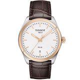 TISSOT 天梭 PR100 大三針時尚腕錶-白x咖啡/39mm T1014102603100
