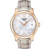 TISSOT 天梭 Tradition 大三針石英女錶-珍珠貝x玫瑰金框/33mm T0632103711700