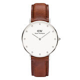 DW Daniel Wellington 施華洛世奇水晶棕色皮革腕錶-銀框/34mm(0960DW)