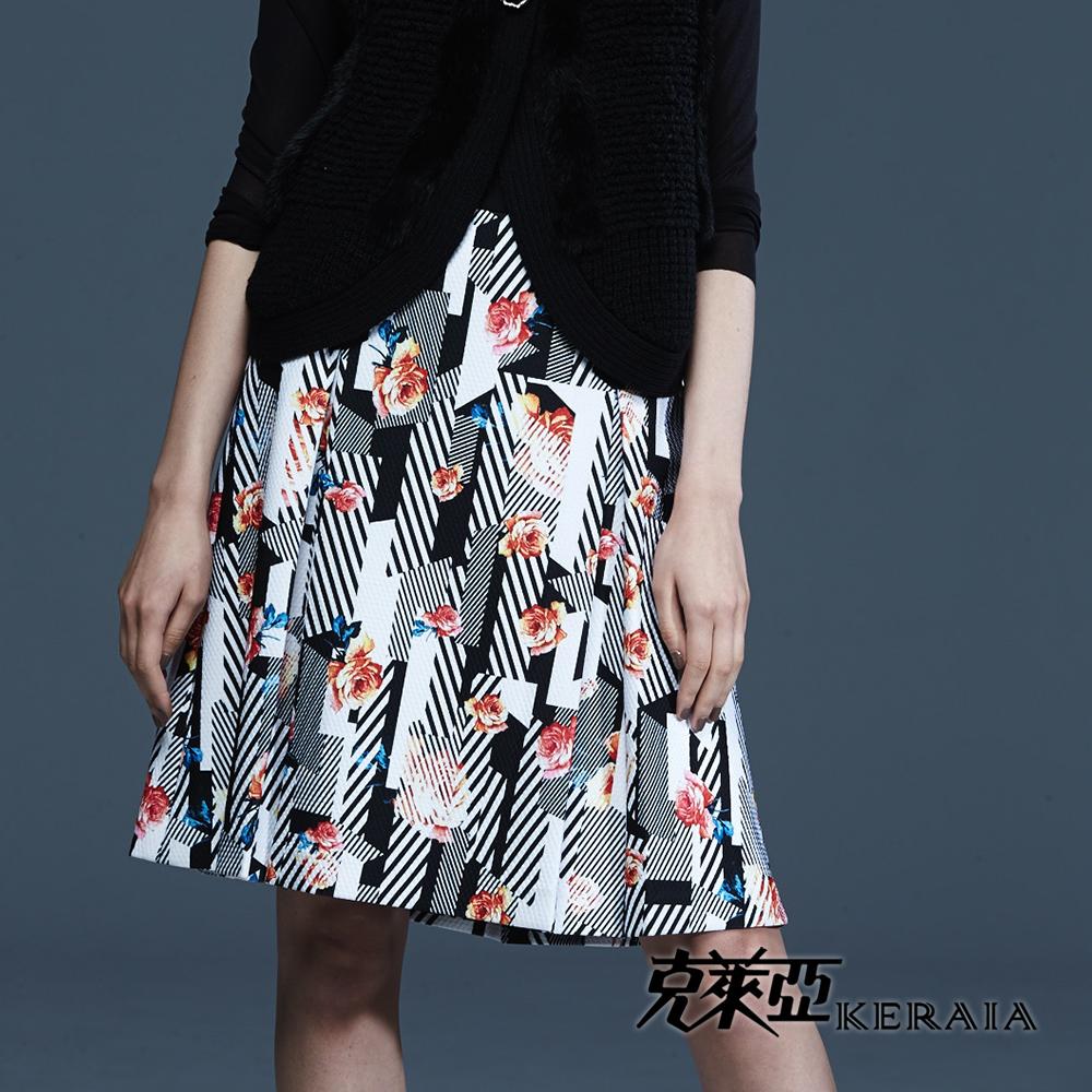 【克萊亞KERAIA】幾何條紋印花及膝裙