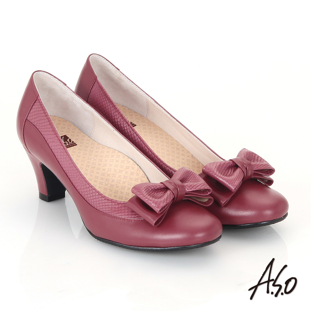 【A.S.O】3E舒活寬楦 真皮立體雙層蝴蝶結飾高跟鞋(酒紅)