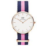 DW Daniel Wellington 經典藍粉紅帆布錶帶-金框/36mm(0505DW)