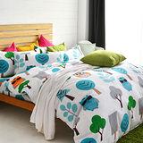 美夢元素 暗光鳥 台製天鵝絨雙人加大四件式 全鋪棉兩用被床包組