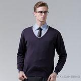 ROBERTA諾貝達 進口素材 台灣製 V領獨特魅力 純羊毛衣 深紫