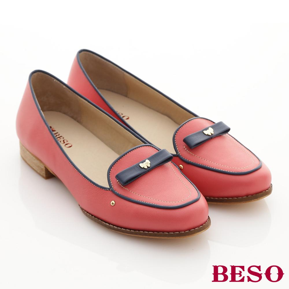 【BESO】學院英倫 真皮撞色滾邊蝴蝶飾釦樂福鞋(紅)