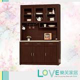【LOVE樂芙】瓊安胡桃色4尺仿石紋餐櫃(全組)