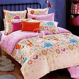 【粉妙樂園】加大純棉四件式二用被床包組