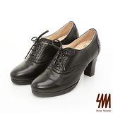 【SM】英倫全真皮系列-經典微尖頭繫帶牛津踝靴-黑色