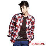 BOBSON 男款刷毛格紋襯衫(33005-13)