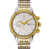 TISSOT Carson 經典羅馬計時機械腕錶-銀x金/42mm T0854272201100