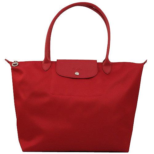 Longchamp 厚質尼龍布長帶水餃包(紅色/大)