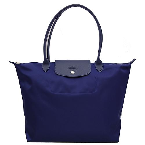 Longchamp 厚質尼龍布長帶水餃包(藍色/大)