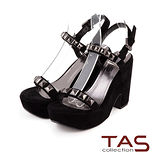 TAS 金屬鉚釘一字繫帶復古粗跟涼鞋-驚艷黑